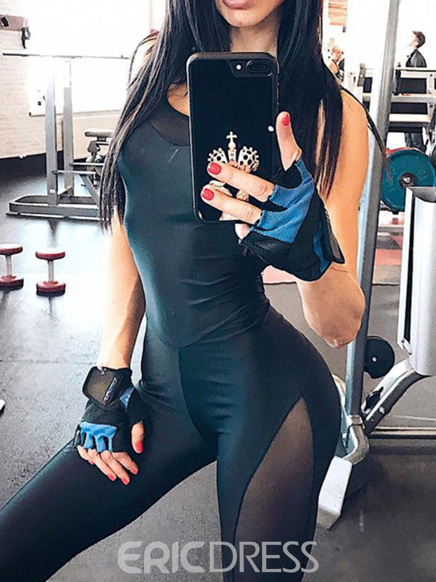 Ericdress Women Solid Patchwork Sport Gym Yoga Jumpsuits