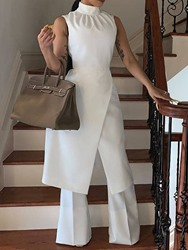 Ericdress Patchwork Dressy Plain White Wide Legs Slim Jumpsuit