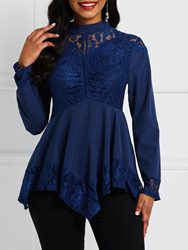 Ericdress Asymmetric Hollow Patchwork Lace Blouse