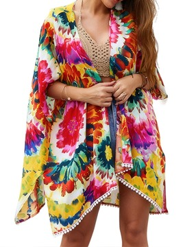 Ericdress Wrapped Print Floral Beach Tops