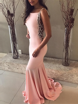 Ericdress Bateau Pearl Backless Mermaid Evening Dress