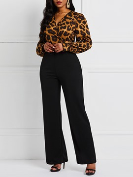 Ericdress Leopard Dressy Print Color Block Jumpsuit