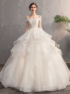 Ericdress Off-The-Shoulder Appliques Short Sleeves Wedding Dress 2020