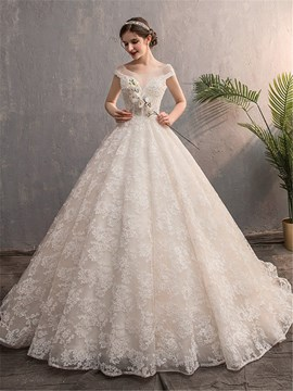 Ericdress Short Sleeves Beading Floor-Length A-Line Hall Wedding Dress 2020