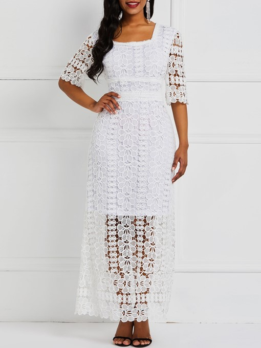 Ericdress Lace Ankle-Length Hollow Plain Pullover Dress