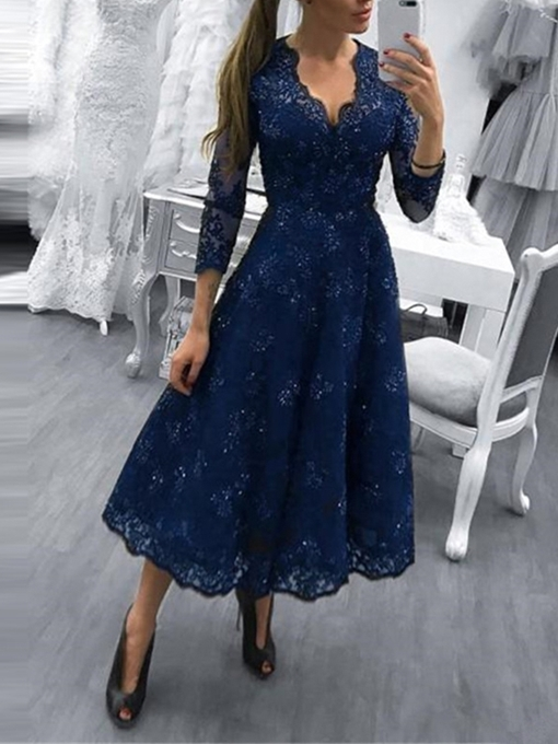 Ericdress 3/4 Length Sleeves Tea-Length Lace Evening Dress 2019