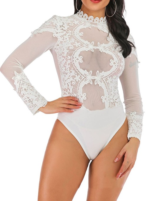 Ericdress See-Through Plain Lace Skinny Bodysuit