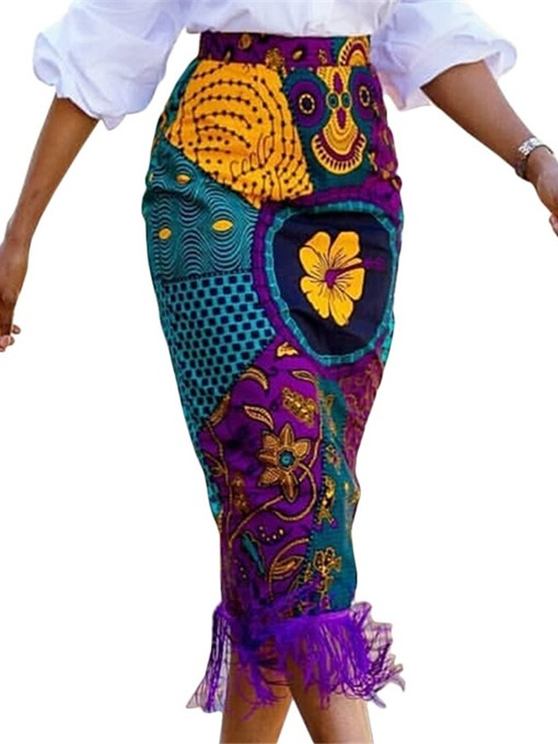 Ericdress African Fashion Print Bodycon Color Block Floral Skirt
