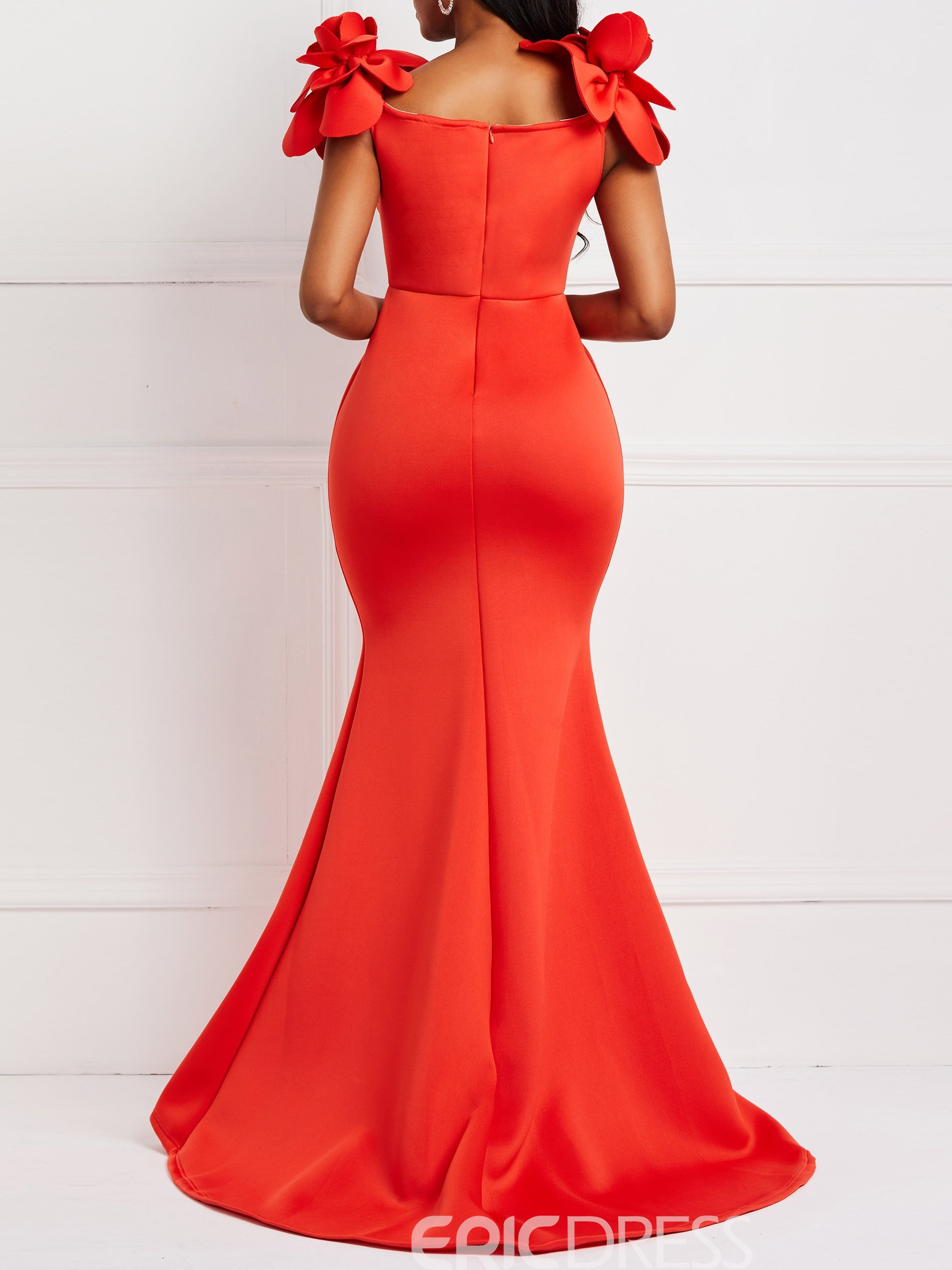 Ericdress Floor-Length Falbala Cap Sleeve Mermaid Bodycon Dress
