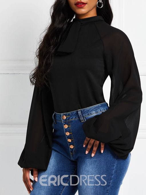 Ericdress Lantern Sleeve See-Through Plain Blouse