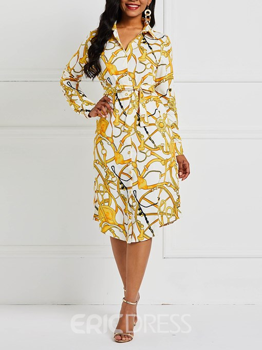 Ericdress Lapel Long Sleeve Print A-Line High Waist Dress