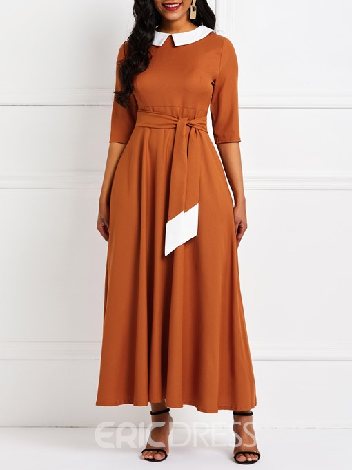 Ericdress Peter Pan Collar Ankle-Length Lace-Up Color Block Pullover Dress