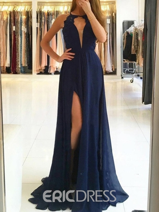 Ericdress A-Line Lace Scoop Evening Dress 2019 With Side Slit