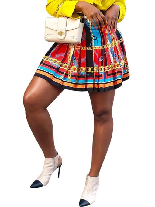 Ericdress Print Pleated Mini Skirt