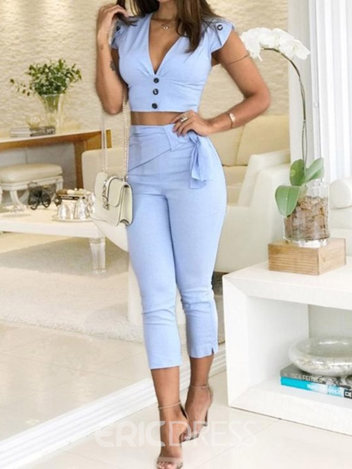 Ericdress Button Office Lady Plain T-Shirt And Pants Two Piece Sets