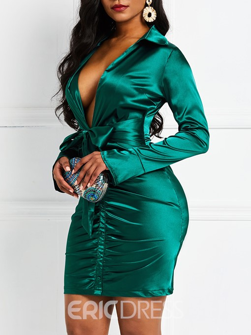 Ericdress Plain Above Knee Lace-Up Bodycon Sexy Dress