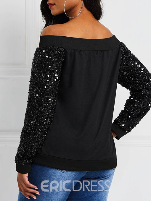 Ericdress Zipper Sequins Off Shoulder Jacket