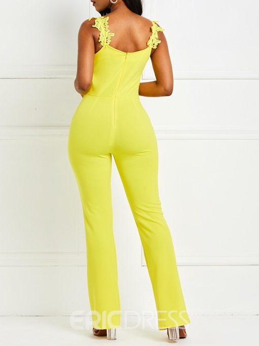 Ericdress Strap Plain Sexy Slim Straight Jumpsuit