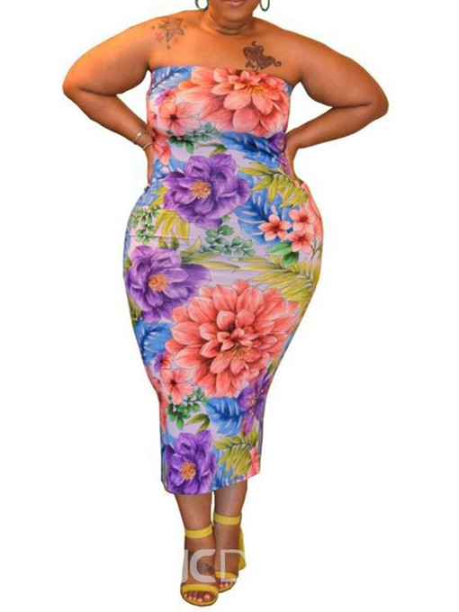 Ericdress Plus Size Mid-Calf Print Sleeveless Pullover Strapless Dress