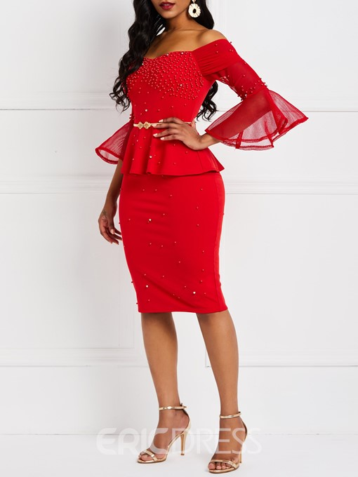 Ericdress Knee-Length Patchwork Three-Quarter Sleeve Flare Sleeve Western Dress