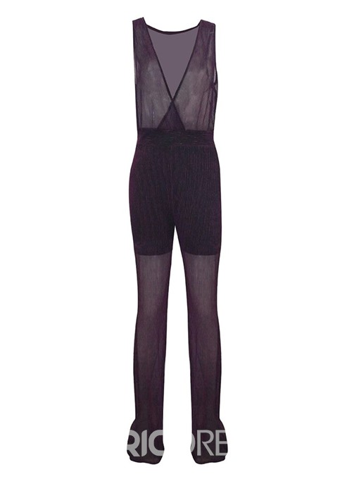 Ericdress See-Through Mesh Plain Mid Waist Slim Jumpsuit