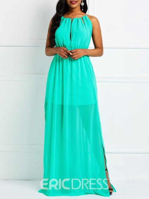 Ericdress Plain Sleeveless Floor-Length Split Sweet Pullover Dress