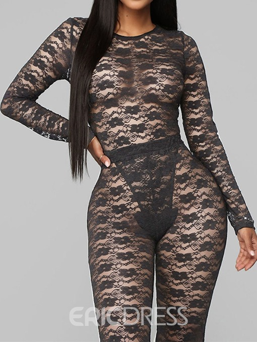 Ericdress Plain See-Through Sexy T-Shirt And Pants Two Piece Sets