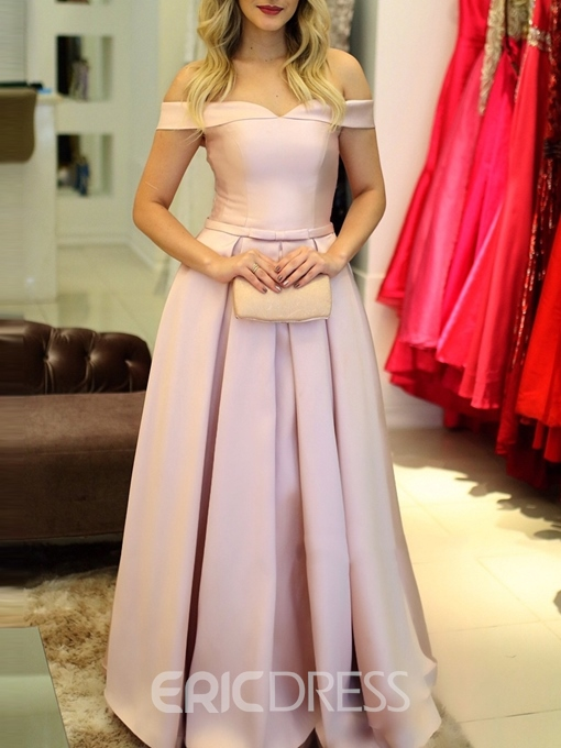 Ericdress Pleats Off-The-Shoulder A-Line Evening Dress 2019