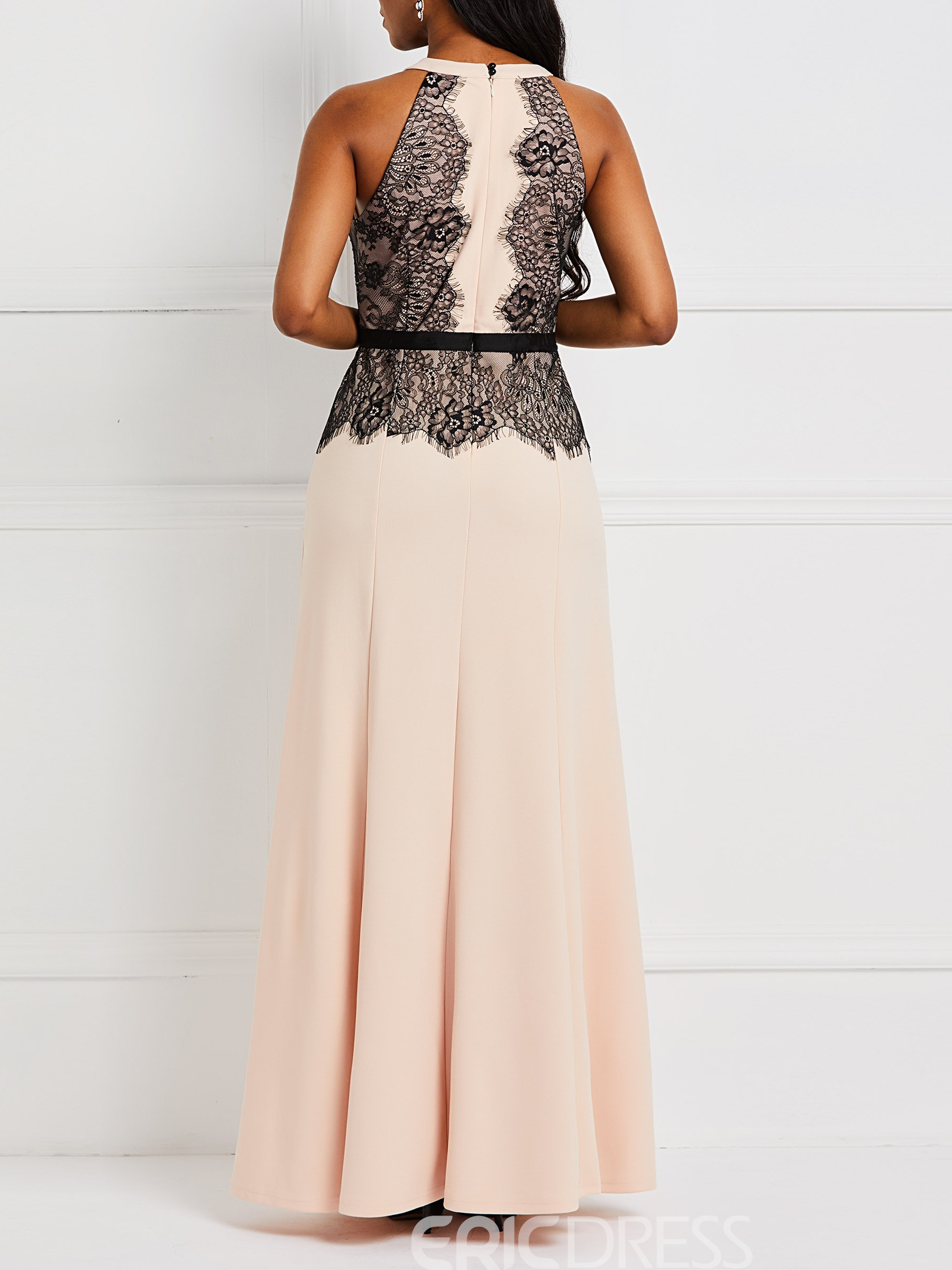 Ericdress Floor-Length Lace Sleeveless A-Line Party Patchwork Dress