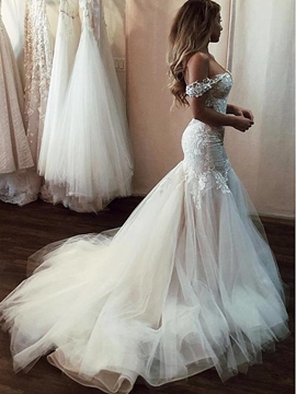 Ericdress Off the Shoulder Appliques Mermaid Wedding Dress 2019