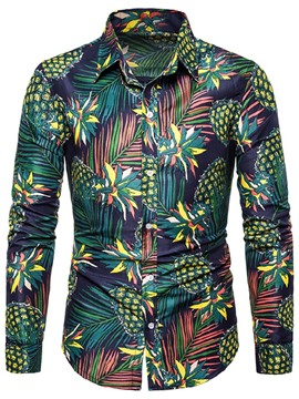 Ericdress Button Fashion Plant Single-Breasted Mens Slim Shirt