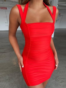 Ericdress Sleeveless Backless Above Knee Bodycon Spaghetti Strap Dress