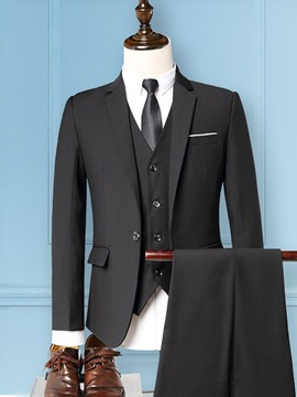 Ericdress Blazer Pocket One Button Mens Dress Suit