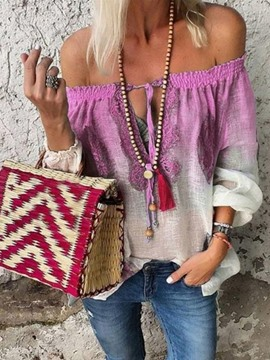Ericdress Color Block Off Shoulder Lace-Up Blouse