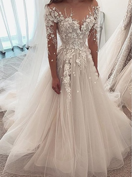 Ericdress Beading Flowers Long Sleeves Wedding Dress