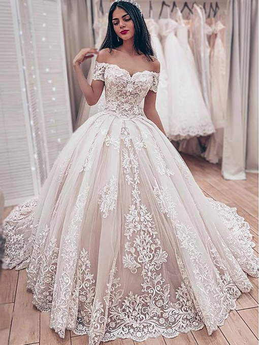 Ericdress Off-The-Shoulder Appliques Ball Gown Wedding Dress 2019