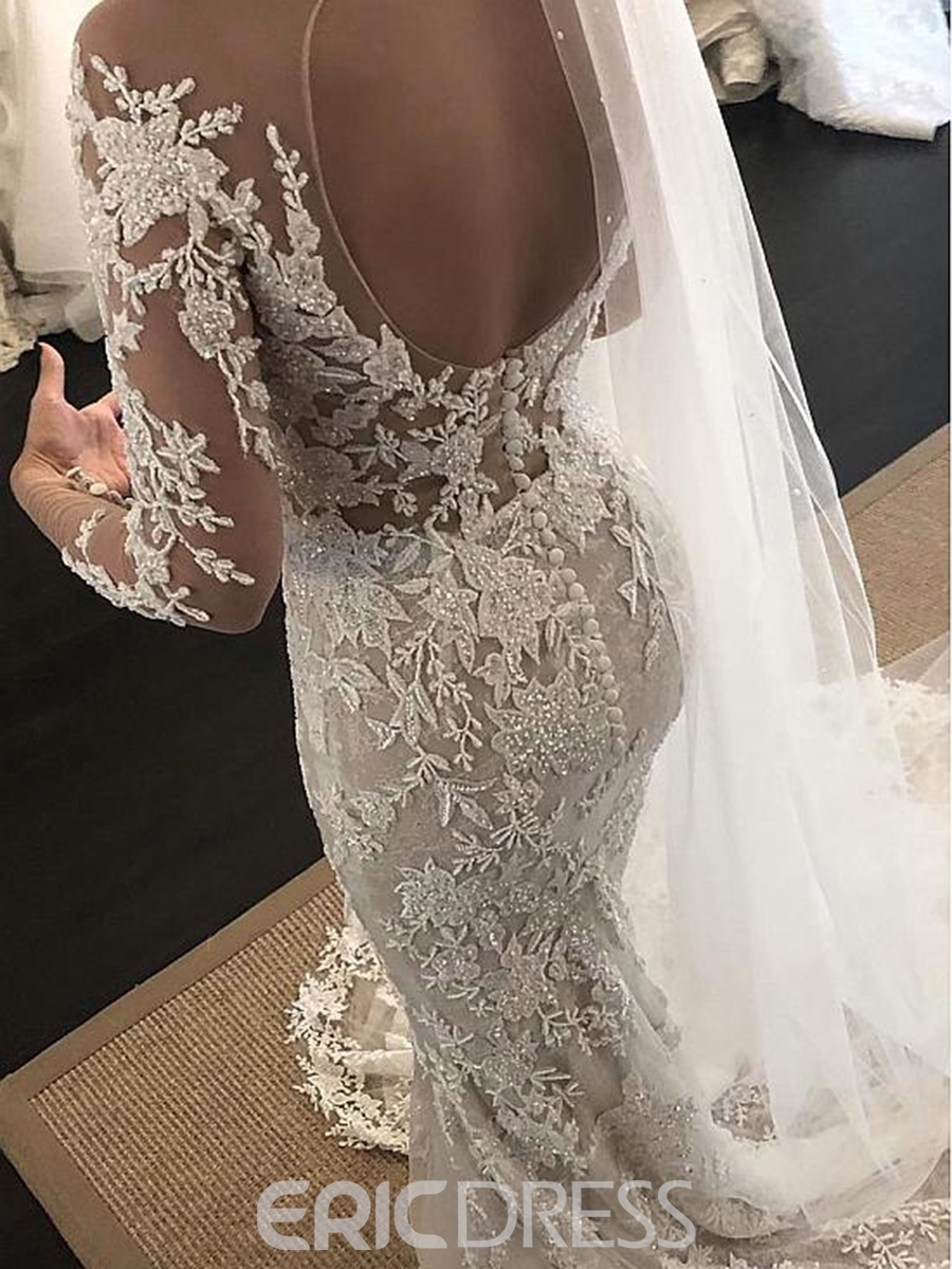 Ericdress Long Sleeves Appliques Beading Mermaid Wedding Dress 2019