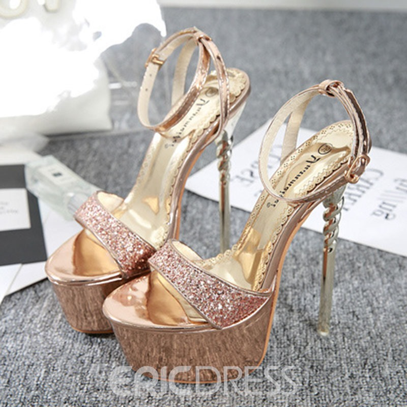 Ericdress Sequin Ankle Strap Buckle Stiletto Heel Women's Prom Shoes