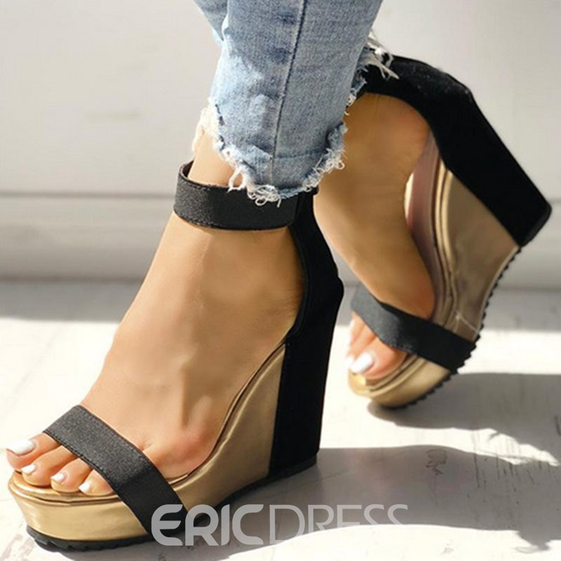 Ericdress Buckle Heel Covering Open Toe Wedge Heel Women's Sandals