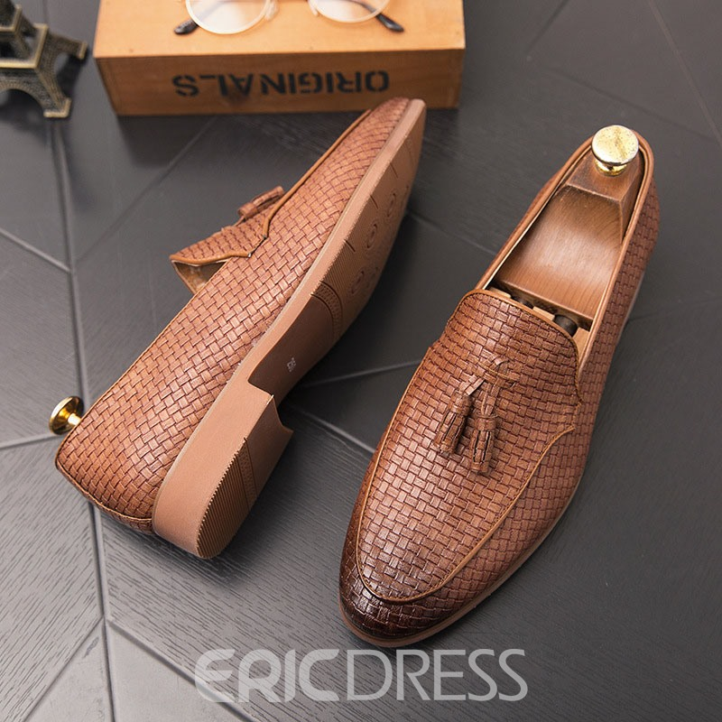 Ericdress Plaid Slip-On Pointed Toe Men's Oxfords
