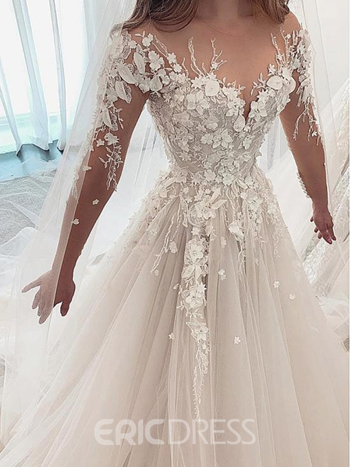 Ericdress Beading Flowers Long Sleeves Wedding Dress 2019