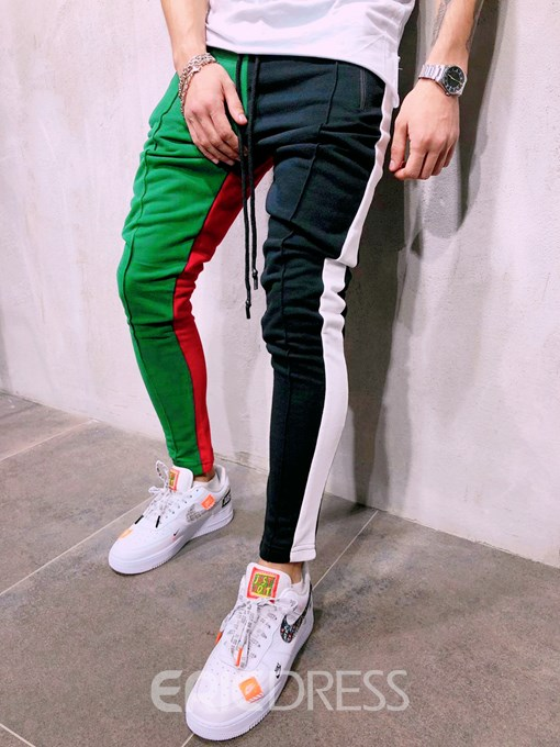 Ericdress Color Block Patchwork Mens Lace-Up Casual Pants