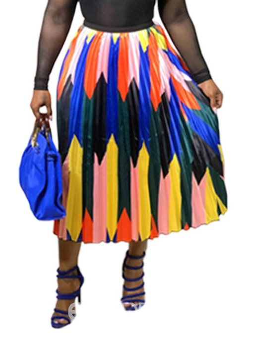 Ericdress Pleated Ankle-Length Color Block Print Skirt
