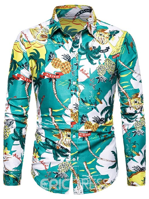 Ericdress Plant Fashion Print Single-Breasted Mens Slim Shirt