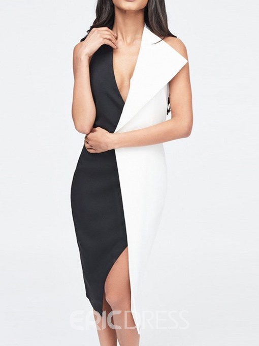 Ericdress Patchwork Sleeveless V-Neck Color Block Halter Dress