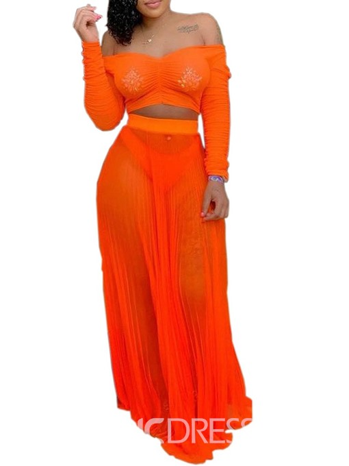 Ericdress Plain Pleated See-Through Off Shoulder T-Shirt And Skirt Two Piece Sets