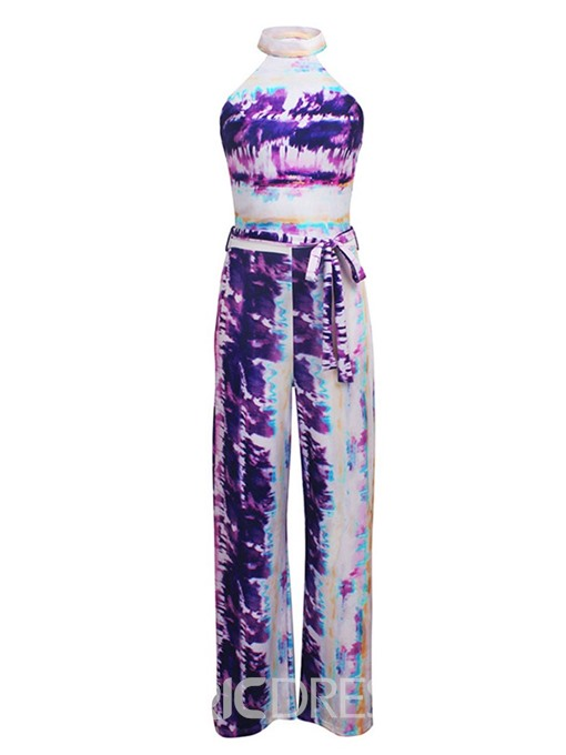 Ericdress Lace-Up Color Block Print Slim Straight Jumpsuit