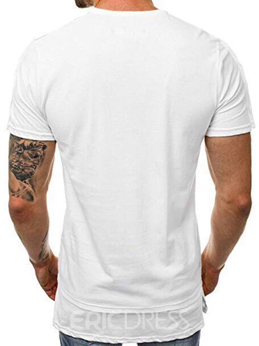 Ericdress Round Neck Print Casual Mens Short Sleeve Slim T-shirt