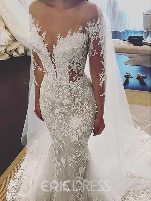 Ericdress Long Sleeves Appliques Beading Mermaid Wedding Dress
