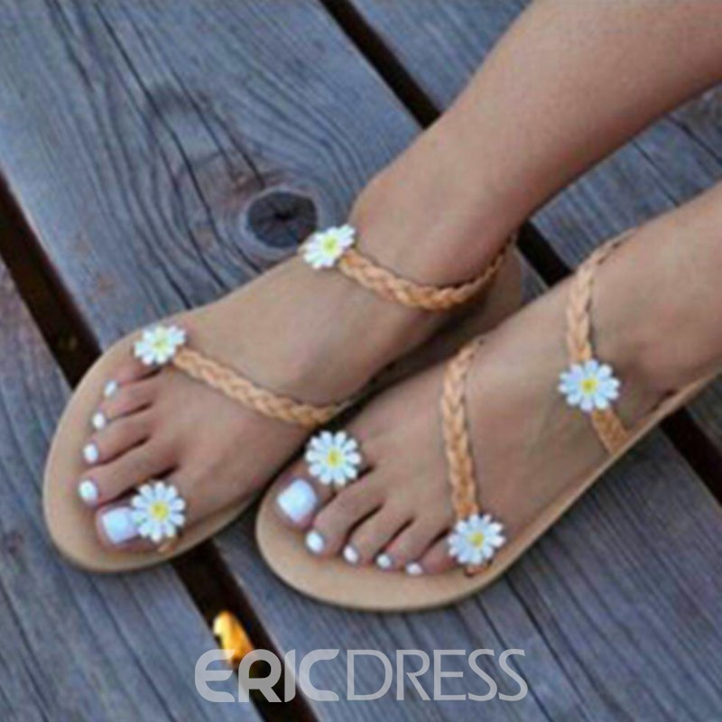 Ericdress Floral Slip-On Toe Ring Women's Flat Sandals